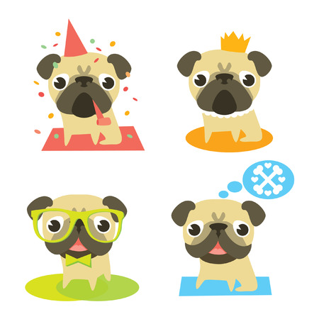 Funny pug dogs in different situation  Vector