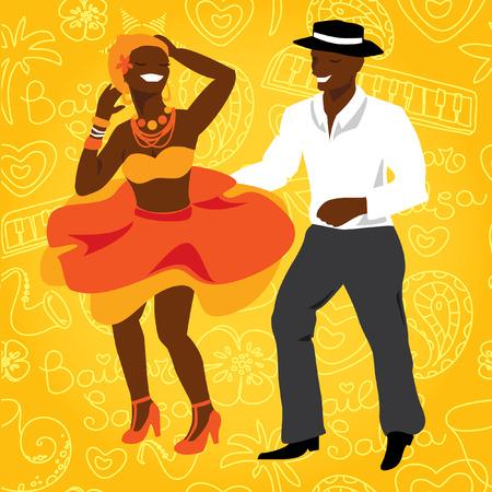 Salsa dancers. Cuban couple dance salsa. Vector modern illustration and design element  イラスト・ベクター素材
