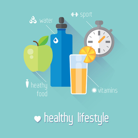 Healthy lifestyle flat illustration. Food, water and sport Vector