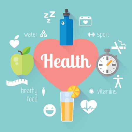 salud y deporte: Vector elemento de dise�o moderno plana