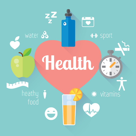 health and fitness: Vector modern flat design element