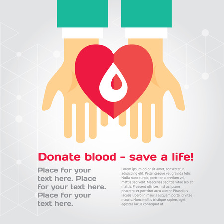 Medical donation. Hands give heart to another. Modern vector illustration with place for text. Layered EPS file