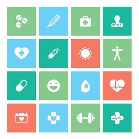 Healthy lifestyle flat stylish illustration set. Medicine, health care, food and sport theme. Modern colors. Vector illustration. Layered file Illustration