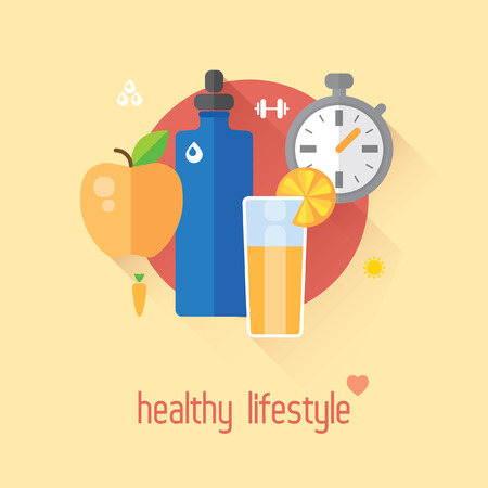 diet food: Healthy lifestyle flat illustration. Food, water and sport