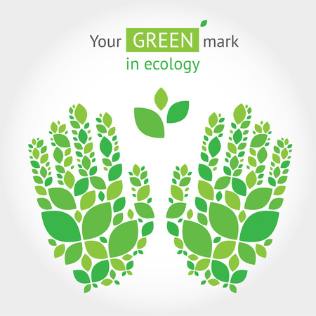 Illustration with hands from leaves about green, ecology, protection of nature. Vector