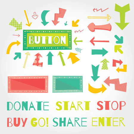giving money: Donate button arrows ans words set . White background. Modern flat vector illustration with place for text. Layered EPS file