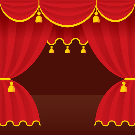 Theater stage with opened red curtain. Detailed stylish modern vector illustration. Vector
