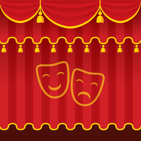 Theater stage with red closed curtain and symbol. Detailed stylish modern vector illustration. Vector