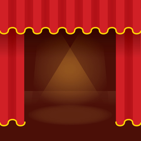 Theater stage with opened red curtain and ray of light. Detailed stylish modern vector illustration. Vector