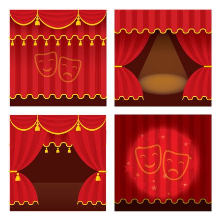 Theater stage set with opened and closed red curtain., ray of light. Detailed stylish modern vector illustration. Vector