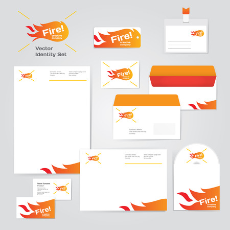 Identity corporative fire set design template in hot yellow, red and orange colors on white background. Fresh vector modern illustration and design element for creative company Vector