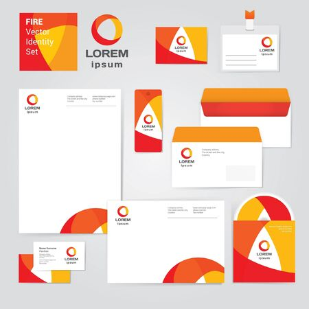 Identity corporative set design template in hot yellow, red and orange colors on white background. Fresh vector modern illustration and design element Vector