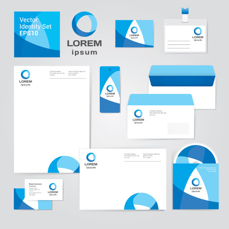 Identity corporate set design template in water blue colors on white background. Fresh vector modern illustration and design element for company
