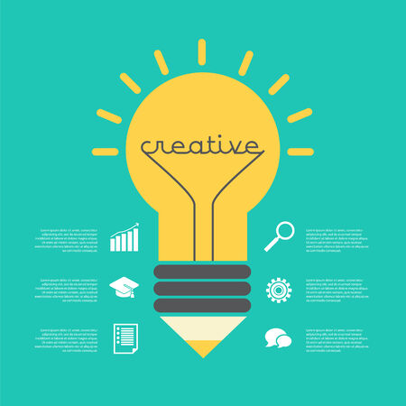 inspiration education: Creative idea vector illustration with lamp, pencil, info-graphic, icons. Modern vector design element on color background Illustration