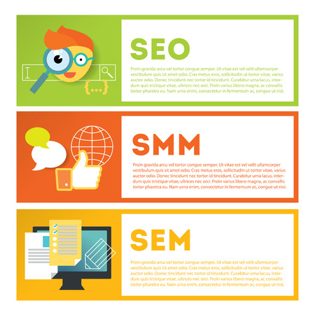 developing: Search optimization and internet media marketing illustration set. Stylish design elements or icons on colored background. Vector modern illustration in flat style