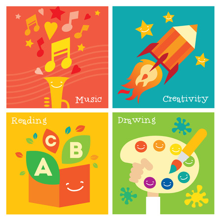 knowledge tree: Children creativity development and education icon set. Modern flat vector illustration. Design element Illustration