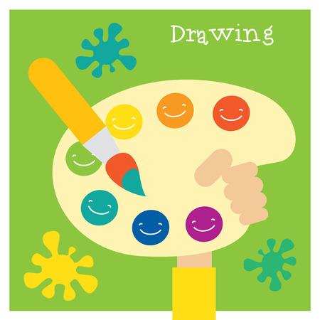 Children creativity and art development and education. Modern flat vector illustration set. Design element
