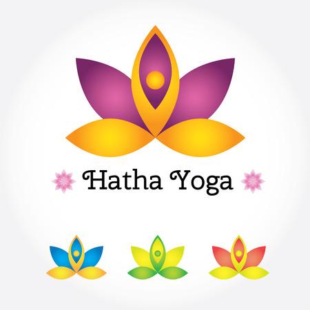 Hatha 요가 기호, 인간의 실루엣 다양 한 색상의 연꽃입니다. 현대 벡터 일러스트 레이 션 및 디자인 요소 일러스트