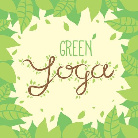 hatha: Green yoga nature lettering on leaves background. Modern vector handdrawn illustration and design element Illustration