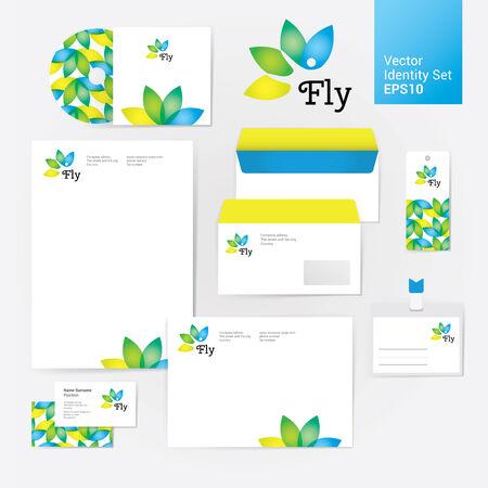 Yoga bien-être fleur de style de l'identité d'entreprise mis en enveloppe, vide, carte bussines et dur. Moderne illustration de vecteur et des éléments de conception