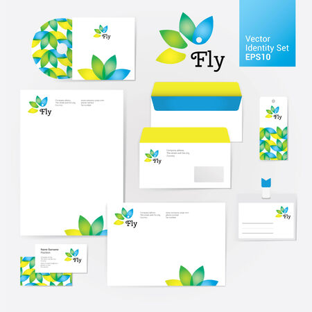 Yoga wellness flower corporate identity style set with envelope, blank, bussines card and disk. Modern vector illustration and design elements