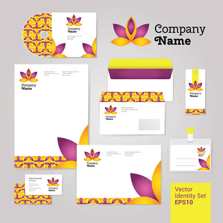 Yoga wellness flower corporate identity style set with envelope, blank, bussines card and disk. Modern vector illustration and design elements Vector
