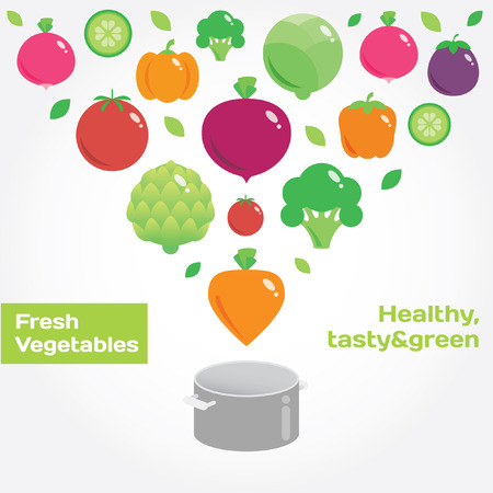 eating habits: Vegetables round flat icons. Fresh green and healthy food Illustration