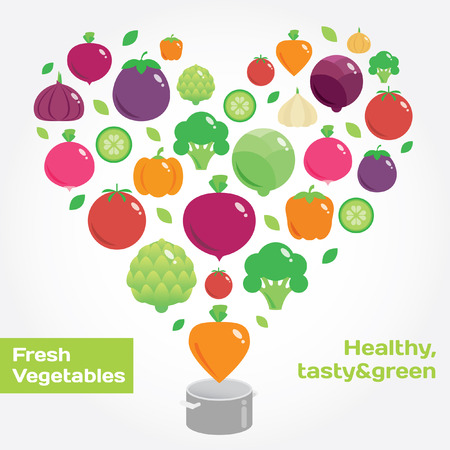 contemporary taste: Vegetables round flat icons. Fresh green and healthy food Illustration