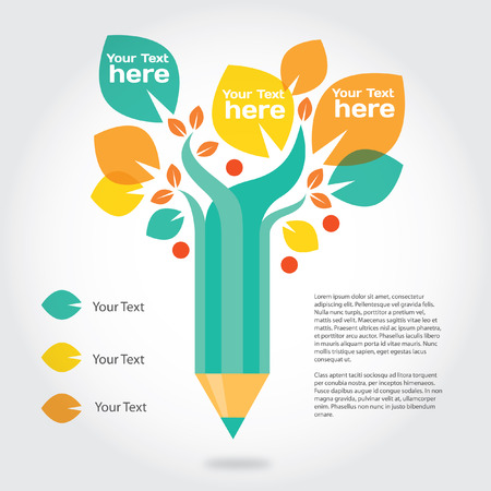 university text: Pencil tree, info graphic about education and growing.