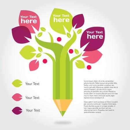 연필 나무, 교육과 성장에 대한 그래픽 정보. 일러스트