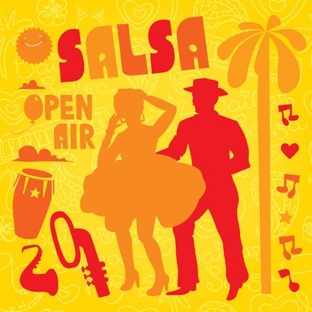 bailarines de salsa: elegante ilustración elemento de diseño