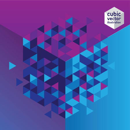 Abstract mosaic background. Blue and purple cubic geometric background.  Illustration