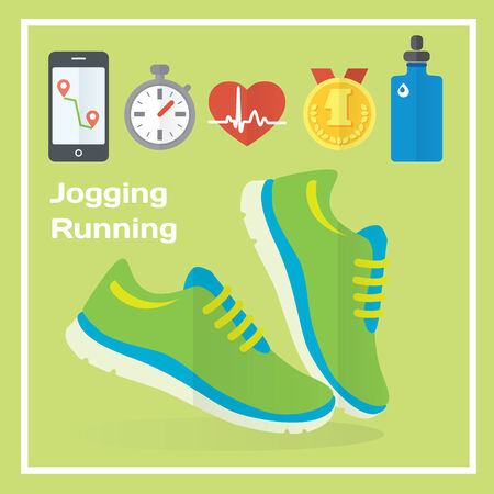 metrics: Jogging and running concept flat icons of gym, healthy food, metrics. Isolated vector illustration and modern design element