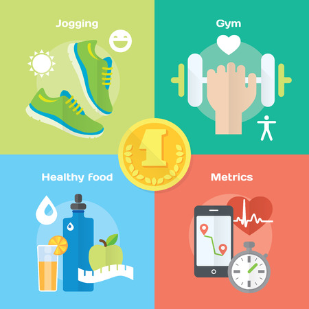 Jogging and running winner concept flat icons of gym, healthy food, metrics. Isolated vector illustration and modern design element Vectores