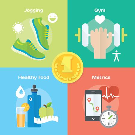 alimentacion sana: Trotar y correr ganador concepto iconos planos de gimnasio, comida sana, las m�tricas. Ilustraci�n vectorial aislado y elemento de dise�o moderno