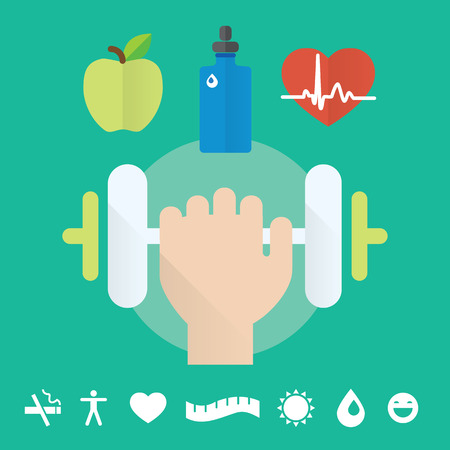 Gym concept flat icon set with health care, food and water. Isolated vector illustration and modern design element