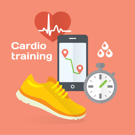 Everyday cardio training concept flat icons set of metrics, smart phone, shoes. Isolated vector illustration and modern design element Stock Illustratie