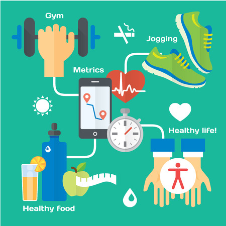 running shoes: Healthy life concept flat icons