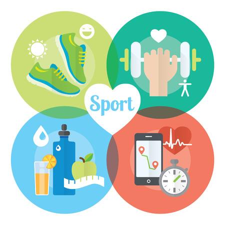 personas corriendo: Concepto de vida sana iconos planos