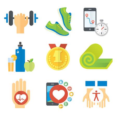 스포츠 및 건강 한 생활 개념 평면 아이콘 세트 일러스트