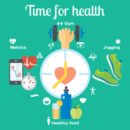 Time for healthy concept flat icons