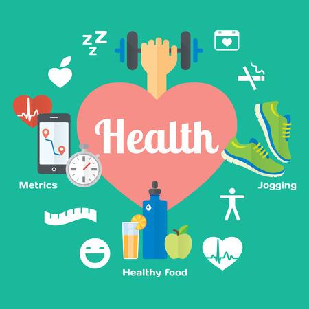 건강한 생활 개념 평면 아이콘
