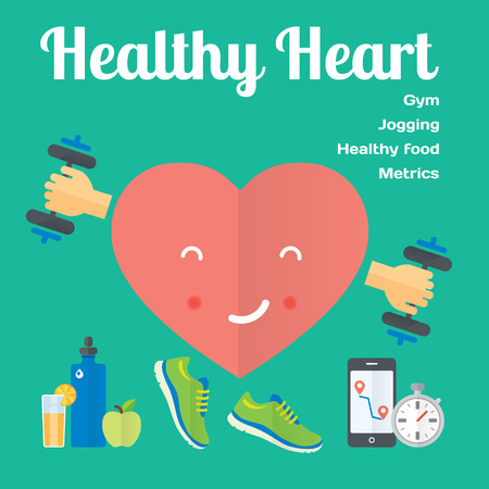 Healthy heart concept flat icons Vector