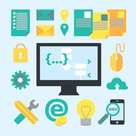 Programming and development process design elements. Vector