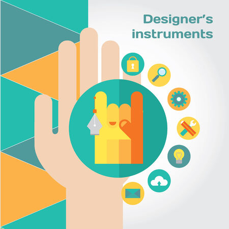 Human hand with internet shopping and sales elements icon set.  Vector
