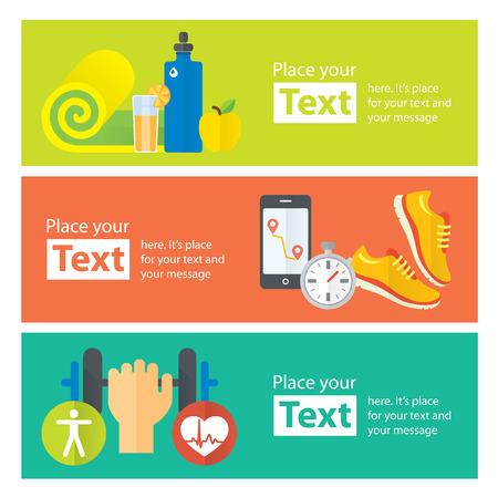 Healthy life concept flat banners of jogging, gym, healthy food, metrics. Stock Illustratie