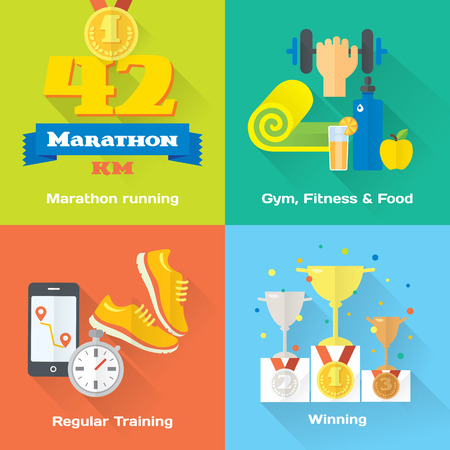 running shoe: Marathon winner concept flat icons of gym, healthy food, metrics.