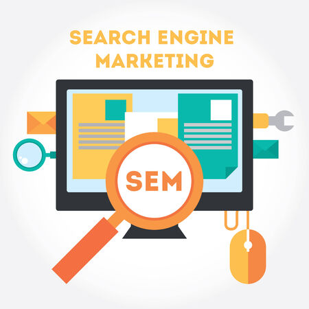 Flat modern design elements about Search Engine Marketing process.