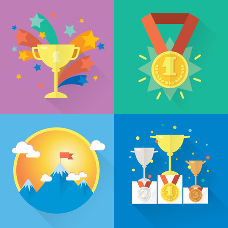 Modern icons and illustrations in flat style