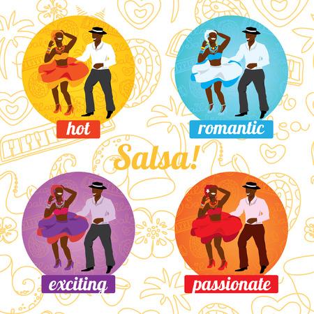 bailarines de salsa: Ilustración vectorial y elemento de diseño